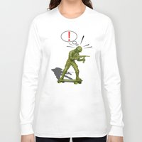skateboard Long Sleeve T-shirts featuring Soldier skateboard by Tony Vazquez