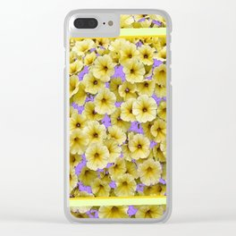 PALE YELLOW PETUNIAS LILAC PATTERN FLORAL Clear iPhone Case
