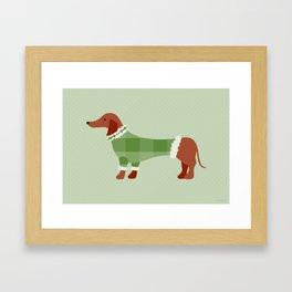 Holiday Sweater Dog Framed Art Print