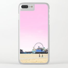 Santa Monica Pier with Ferries Wheel and Roller Coaster Against a Pink Sky Clear iPhone Case