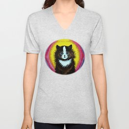 "Louis Wain's Cats ""Psychedelic Rainbow Cat"" Unisex V-Neck"
