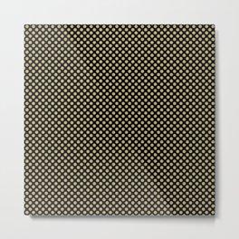 Black and Hemp Polka Dots Metal Print