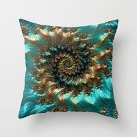 supreme Throw Pillows featuring Aqua Supreme by Steve Purnell