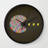 pacman Wall Clocks featuring PACMAN by gazonula