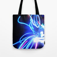 neon Tote Bags featuring Neon by Monica Ortel ❖