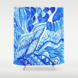 watercolor blue composition Shower Curtain