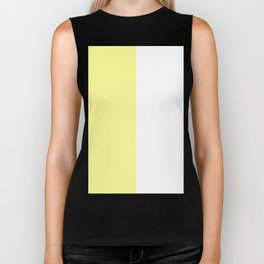 White and Pastel Yellow Vertical Halves Biker Tank