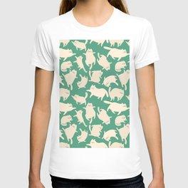 White Cats Pattern T-shirt