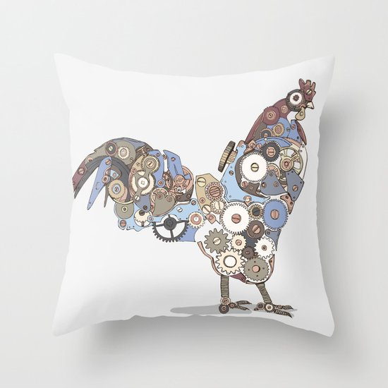 Chicken Alarm Throw Pillow