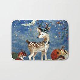 Autumn Woodland Friends Deer Forest Illustration Bath Mat