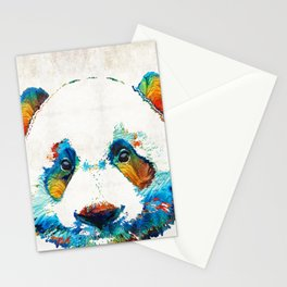 Colorful Panda Bear Art By Sharon Cummings Stationery Cards