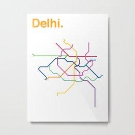 Dehli Transit Map Metal Print