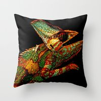 number Throw Pillows featuring KARMA CHAMELEON by Catspaws