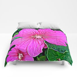 Pink Flowers of Diamond Essence Comforters
