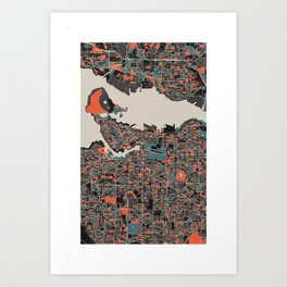 Vancouver Multicoloured Print Art Print