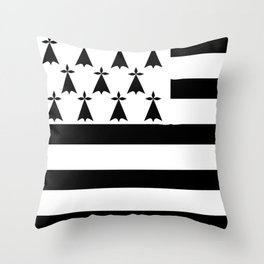 Brittany flag emblem Throw Pillow