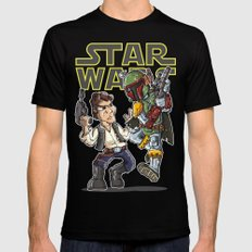 Star Wars - Han Solo x Bobba Fett Black LARGE Mens Fitted Tee