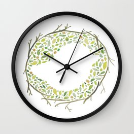 Green Little Bird Nest Wall Clock