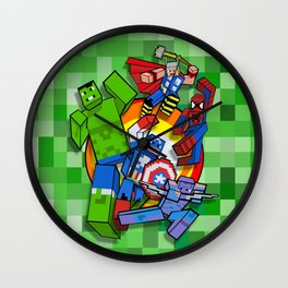 Funny Cute Cube Superheroes group iPhone 4 4s 5 5c 6, pillow case, mugs and tshirt Wall Clock