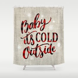 Baby It's Cold Red Buffalo Plaid Shower Curtain
