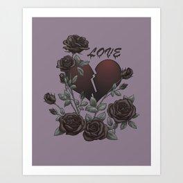 Black Roses Broken Heart Lost Love Art Print