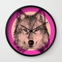 eric fan Wall Clocks featuring Wild 7 by Eric Fan & Garima Dhawan by Garima Dhawan