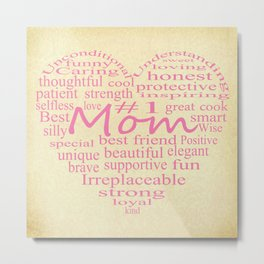 Defintion Of A Mother-Heart Outline Metal Print