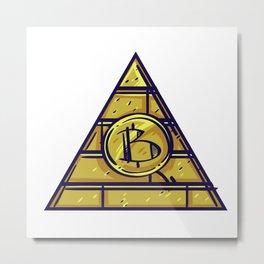 Bitcoin Color Pyramid Illustration Metal Print
