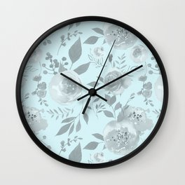 light blue and gray floral watercolor print Wall Clock