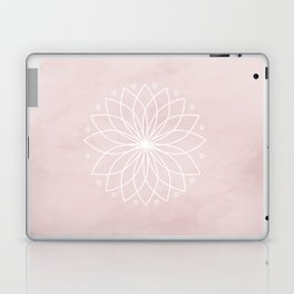 Mandala on Pink Watercolor Background Laptop & iPad Skin