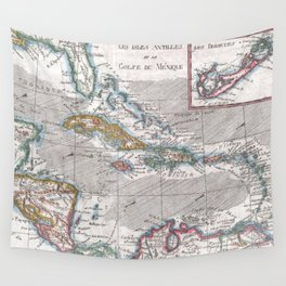 Vintage Map of The Caribbean (1780) Wall Tapestry