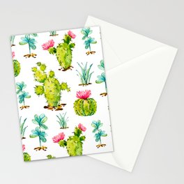 Green Cactus Watercolor Stationery Cards