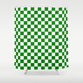 Small Checkered - White and Green Shower Curtain