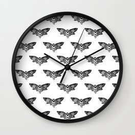 Linocut Moth black and white minimal insect animal lepidoptery moths art Wall Clock