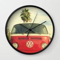 vw Wall Clocks featuring VW Coastin' by RichCaspian
