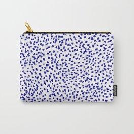 Vonnie - abstract minimal indigo blue dalmatian dots brushstrokes animal print monochromatic print Carry-All Pouch