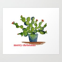 Chistmas Cactus Art Print