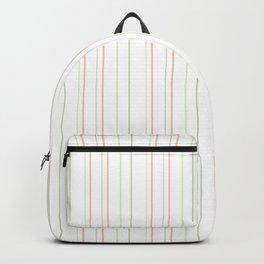 Modern geometrical pink coral green white stripes Backpack