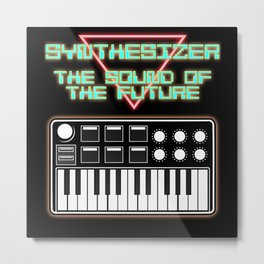 Synthesizer Vintage Synth Nerd Saying Metal Print