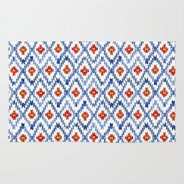 blue rhombus balinese ikat mini Rug