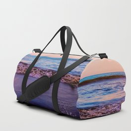 beach sunset with beautiful blue cloudy sky and blue wave in summer Duffle Bag