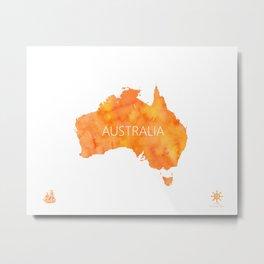 Australia map Mango watercolor Metal Print