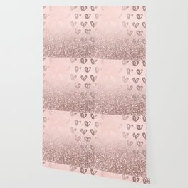 Rose Gold Sparkles on Pretty Blush Pink with Hearts Wallpaper