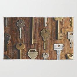 Keys on wood Rug
