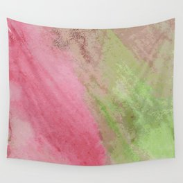 Abstract pink green watercolor ombre brushstrokes Wall Tapestry