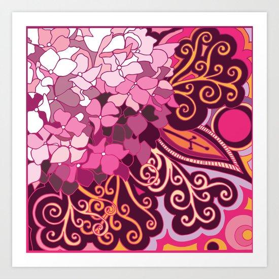 zentangle inspired Hortensia_rose pink doodle Art Print
