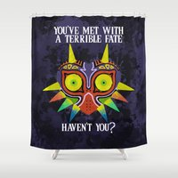 majoras mask Shower Curtains featuring Majora's Mask Splatter (Quote) by Greytel