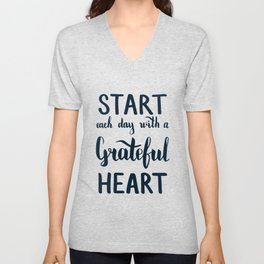Start each day with a grateful heart Text on sea photo Unisex V-Neck