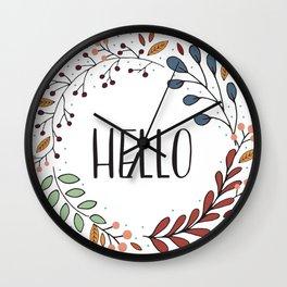 Hello Fall Wreath Wall Clock
