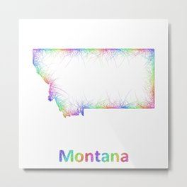 Rainbow Montana map Metal Print